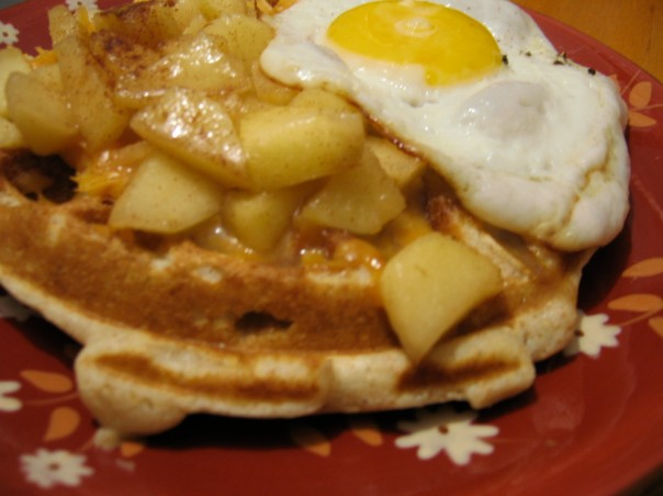 apple cheddar waffles