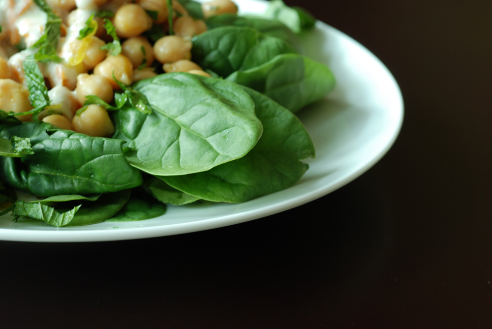 Chickpea and Spinach Salad with Cumin Dressing and Orange Yogurt Sauce ...