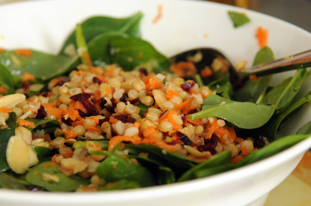 Wheat Berry Salad with Almonds and Spinach in a Citrus ...