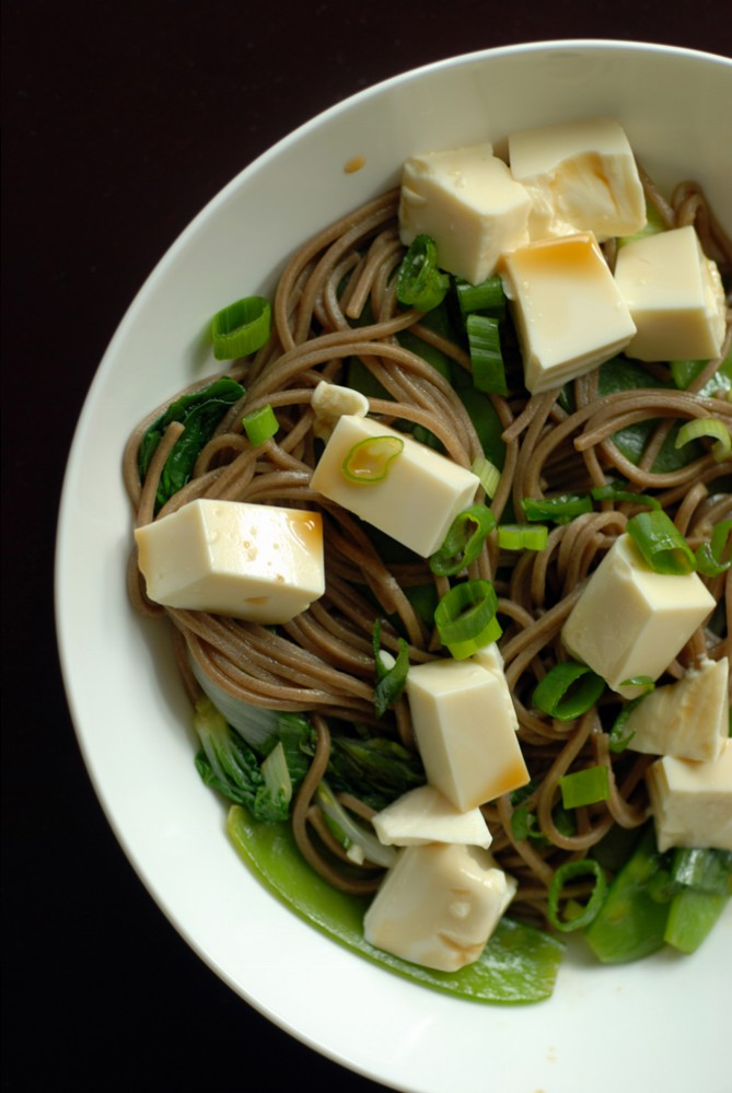 Chilled Soba with Baby Bok Choy, Snow Peas, Spinach and Tofu