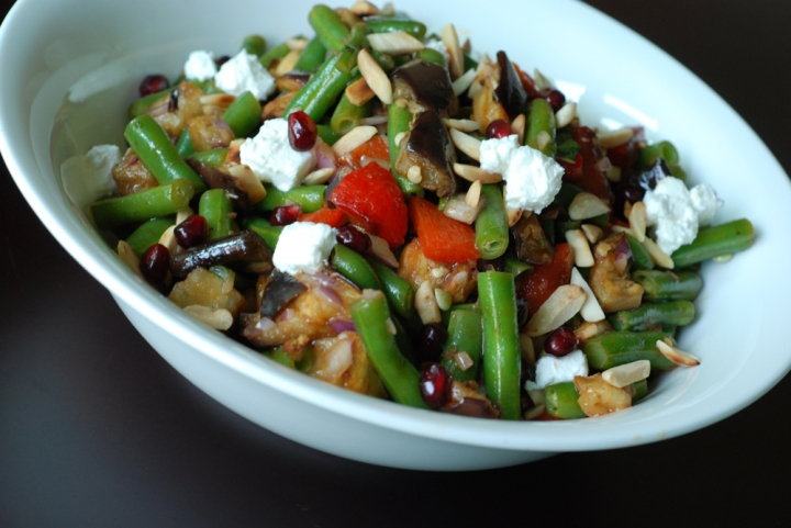 Roasted Eggplant, Red Pepper and Green Bean Pomegranate Salad | the ...