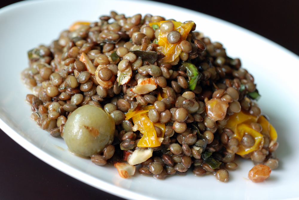 Roasted Tomato and Lentil Salad with a Caramelized Sherry Vinaigrette