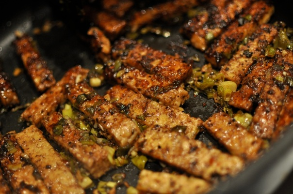 Frying the tempeh