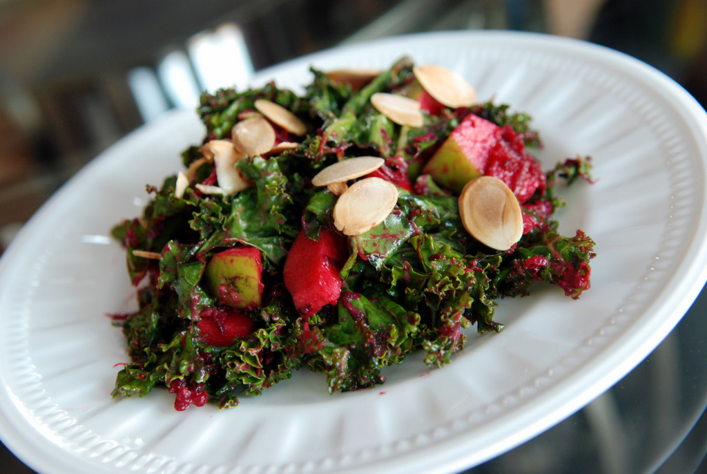 Creamy Raw Kale Salad with Avocado, Apple and Beet | the ...