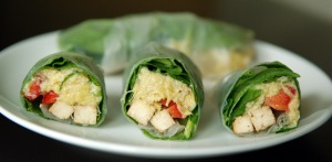 Artichoke and Spinach Rice Paper Roll with Lemon Rosemary Baked Tofu