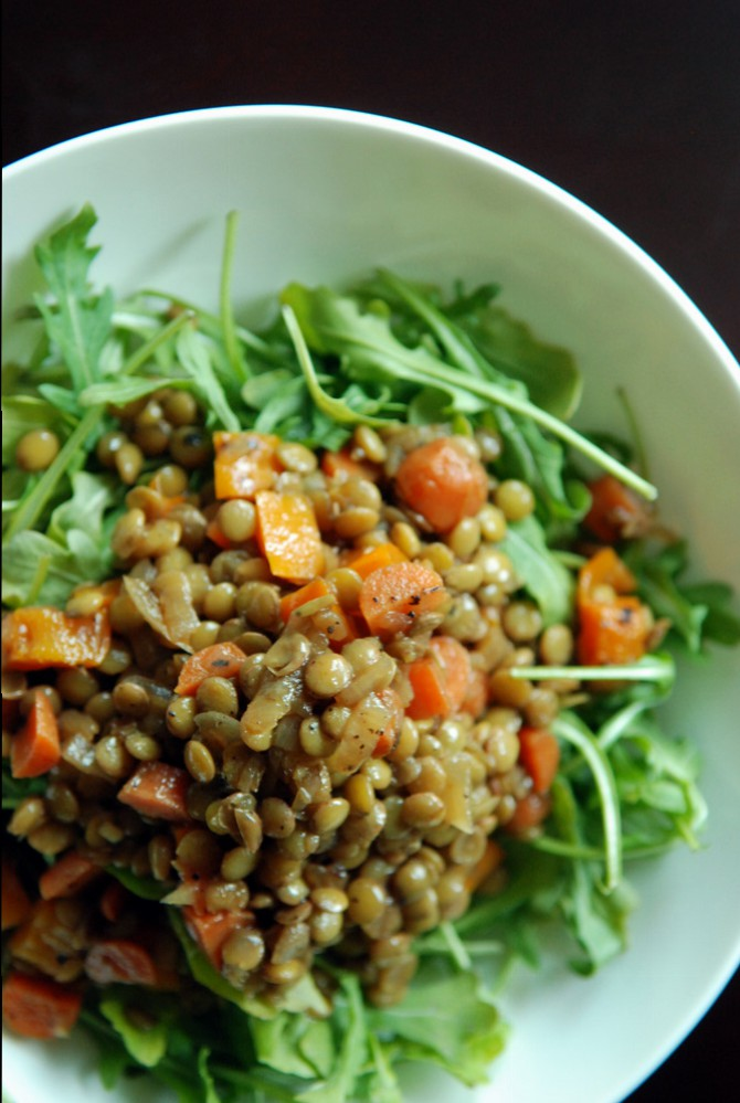 Sweet and Sour Lentils with Carrot and Bell Pepper over Arugula