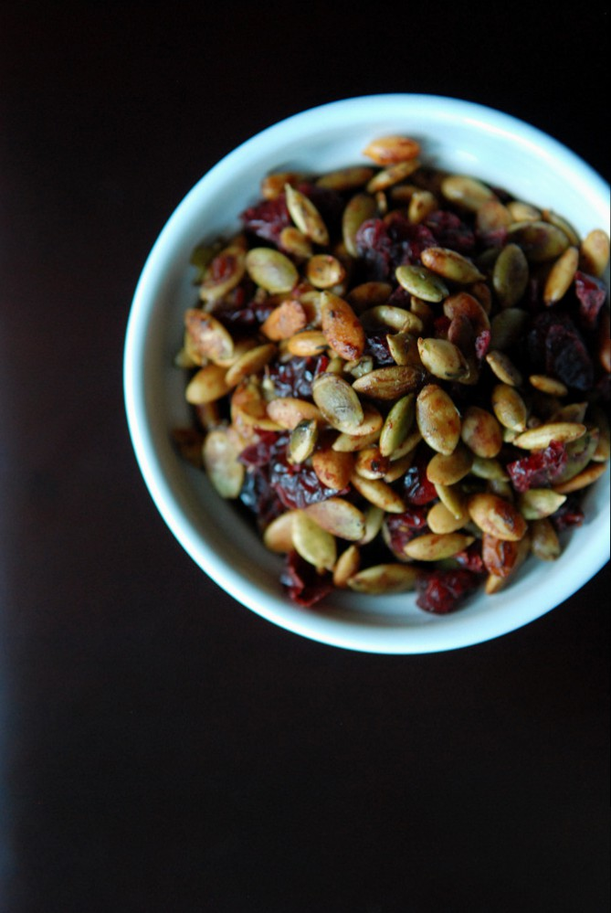 Thyme-Infused Toasted Pumpkin Seeds and Cranberries