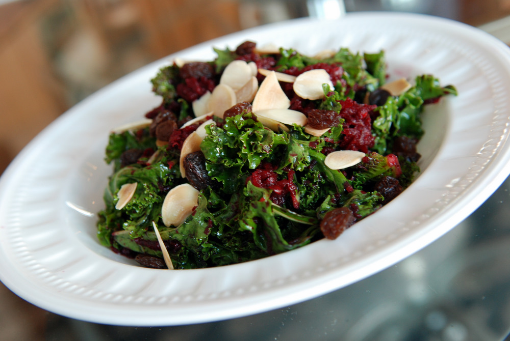 Raw Kale and Beet Salad with Raisins and Almonds | the ...