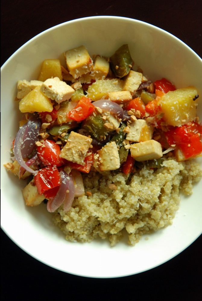 Hawaiian-style Sweet-and-Sour Roasted Pineapple and Bell Peppers with Tofu