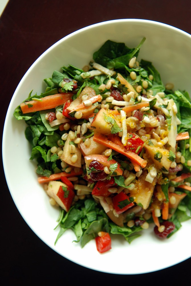 Wheat Berry Salad with Kohlrabi, Apple & Sunflower Seeds