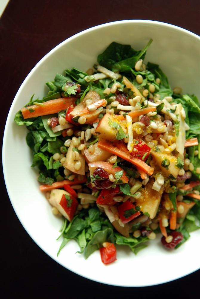 Wheat Berry Salad with Kohlrabi, Apple & Sunflower Seeds