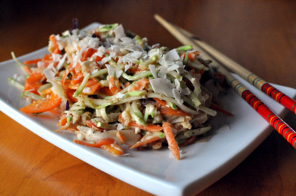 "Coleslaw with a Spicy Almond Dressing (aka Raw ""Pad Thai"") the"