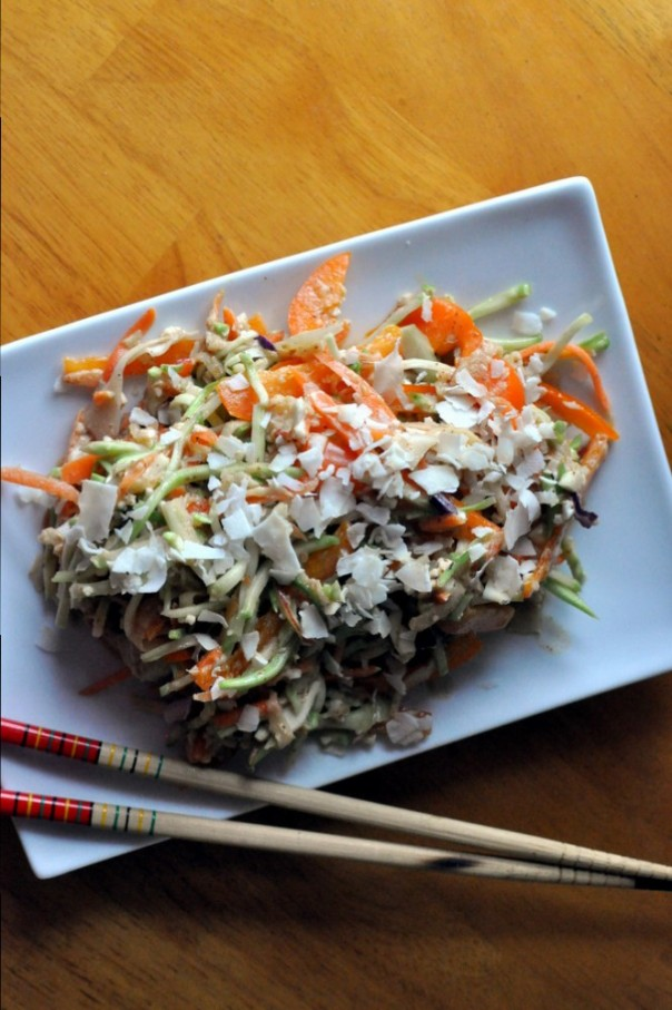 "Coleslaw with a Spicy Almond Dressing (aka Raw ""Pad Thai"")"