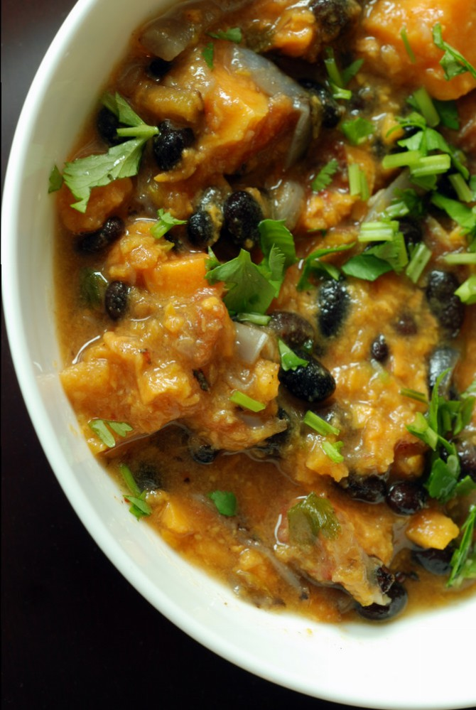 Yam and Black Bean Stew with Orange and Cilantro