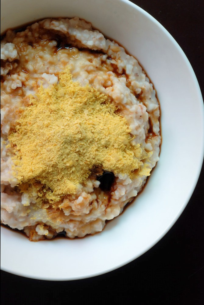 Savoury Oatmeal with Soy Sauce and Nutritional Yeast