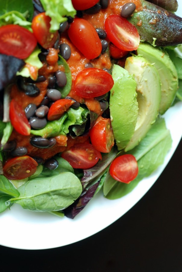 Mexican Salad with Black Beans, Tomato, Avocado in a Creamy Tomato Sauce