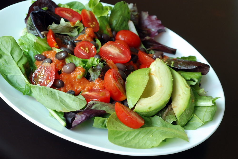 Mexican Salad with Black Beans, Tomato Sauce and Avocado