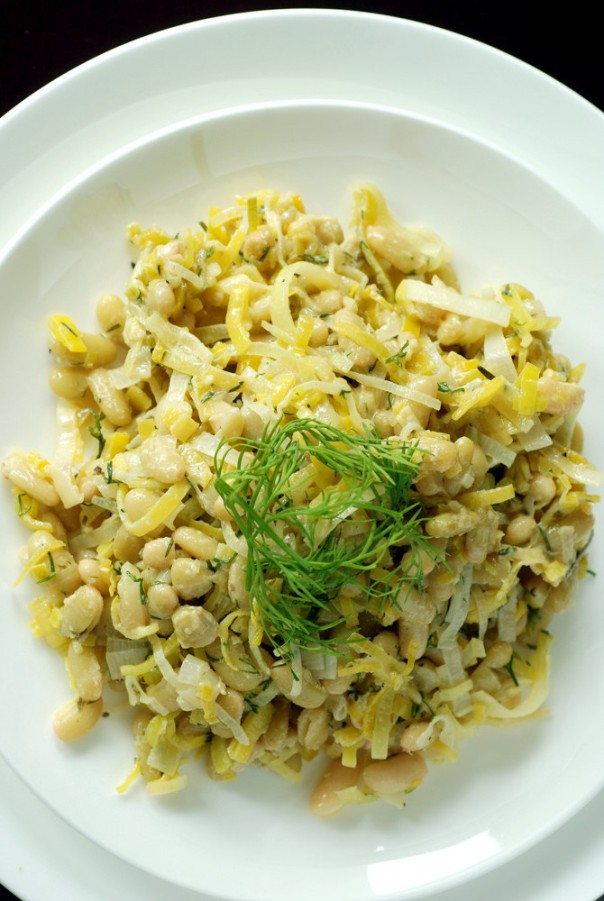 Warm Leek and Flageolet Bean Salad with a Mustard Dressing