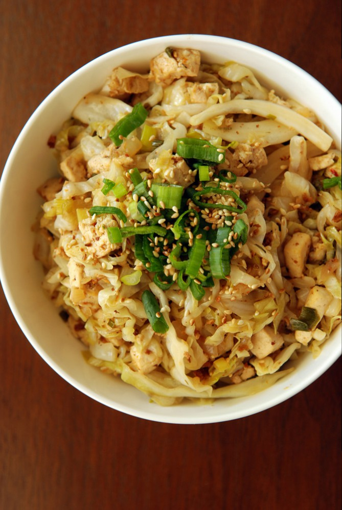 Sweet and Sour Cabbage With Tofu