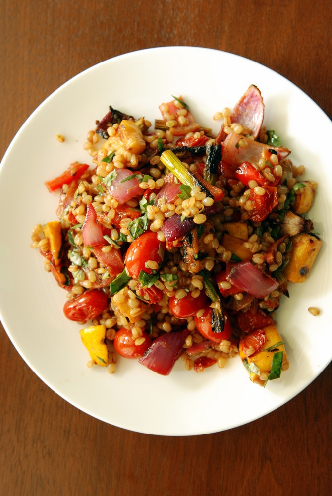 Wheat Berry Salad with Pomegranate-Roasted Vegetables