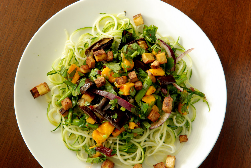 Grilled Eggplant and Mango Noodle Salad with a Sweet Chili Dressing ...