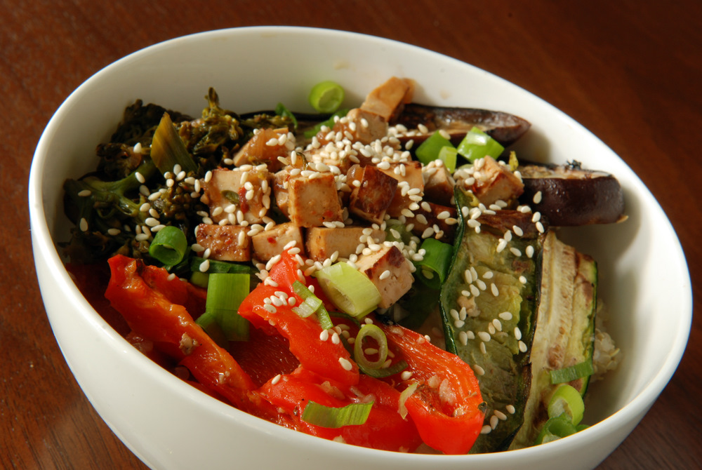 Dragon Quinoa Bowl with Roasted Vegetables and a Miso Gravy the