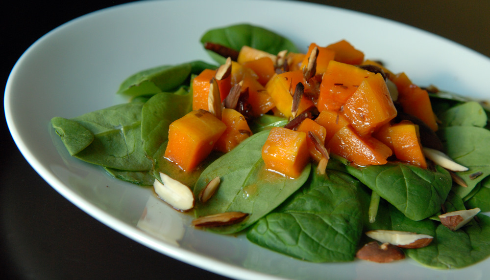 Roasted Butternut Squash Salad with Warm Vanilla-Cider Vinaigrette