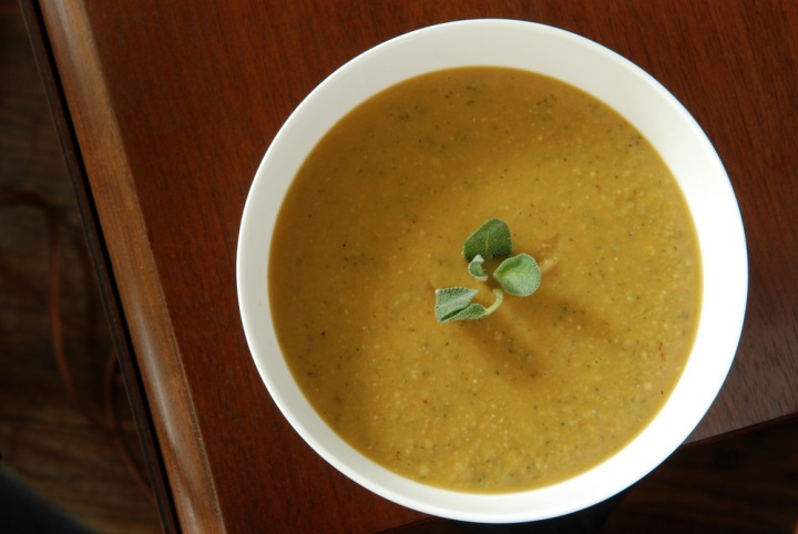 Smoky Split Pea Soup with Roasted Garlic and Sage | the taste space