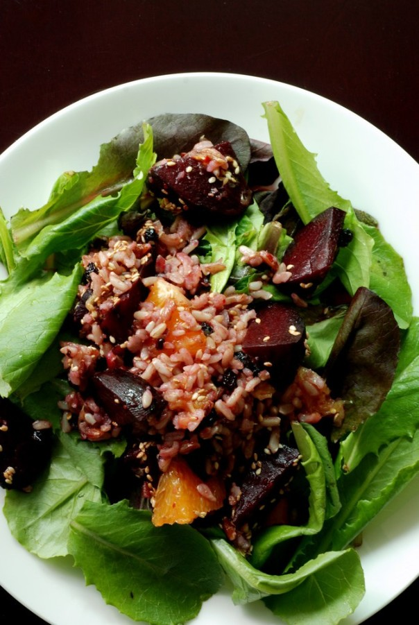 Roasted Beet, Orange and Brown Rice Salad with an Orange Sesame Vinaigrette