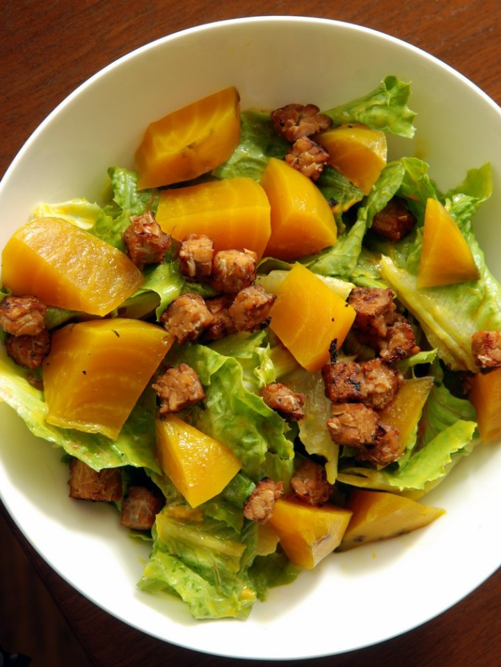 Roasted Yellow Beet Salad With Warm Maple Mustard Dressing and Smoky Tempeh Croutons
