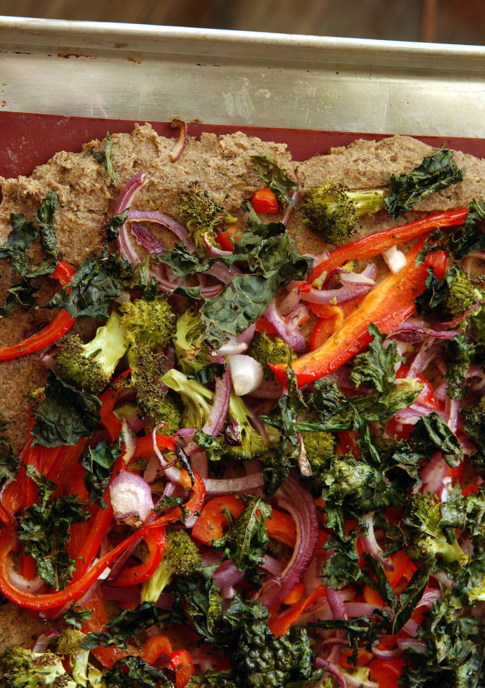 Roasted Vegetable and Kale Chip Pizza with a White Bean and Quinoa Crust