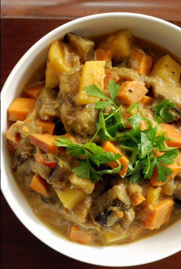 Martinique Sweet Potato Coconut Curry with Eggplant and Pineapple