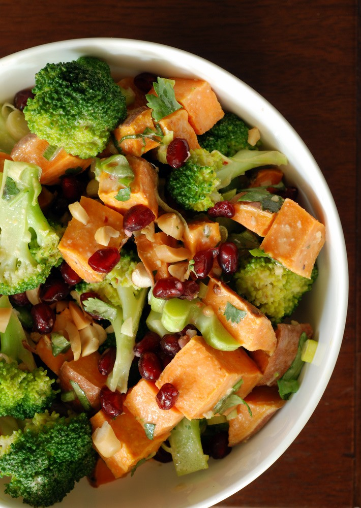 Sweet Potato, Broccoli and Pomegranate Salad with a Peanut Dressing