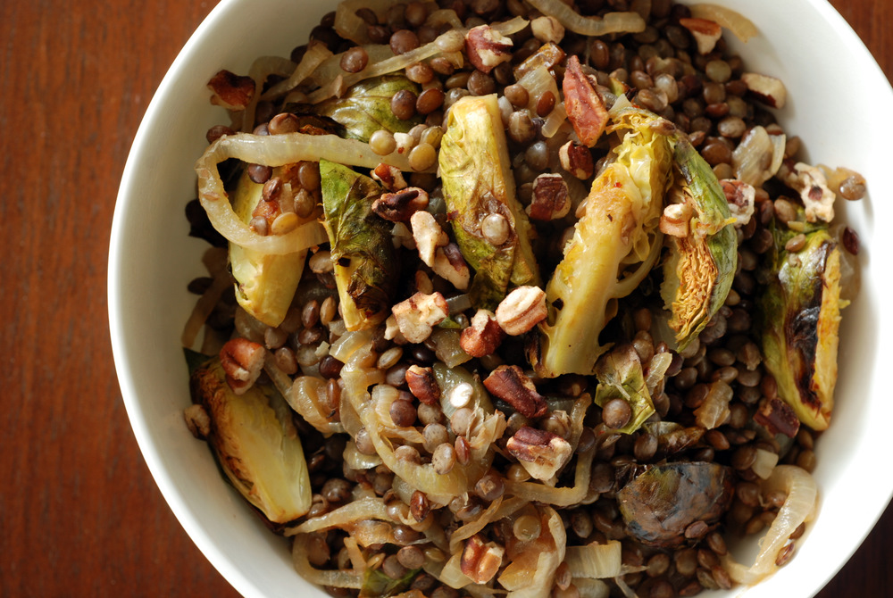 Warm Lentil Salad with Caramelized Onions and Brussels Sprouts | the ...