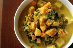 Jamaican Tofu Chowder with Collards