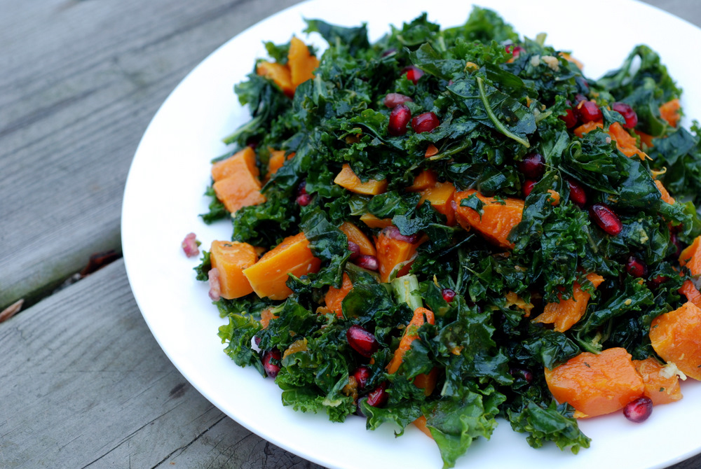 Garlic-Roasted Butternut Squash and Kale Salad with Pomegranate | the ...