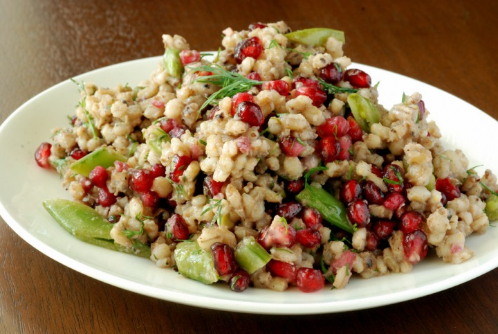Pomegranate, Snap Pea and Barley Salad with Dill and Allspice