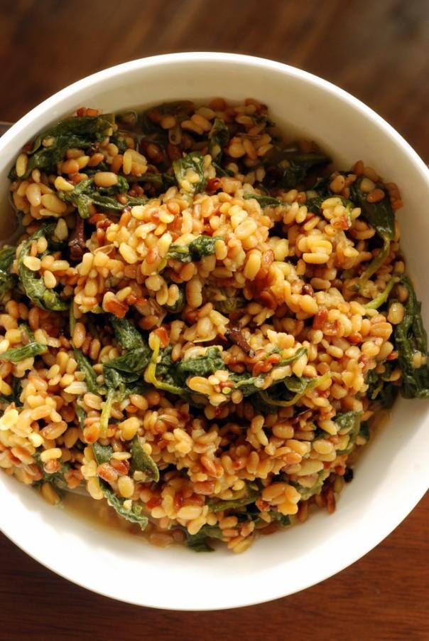 Bengali Toasted Moong Dal (Green Lentils) with Spinach (Bhaja Moong Palak)