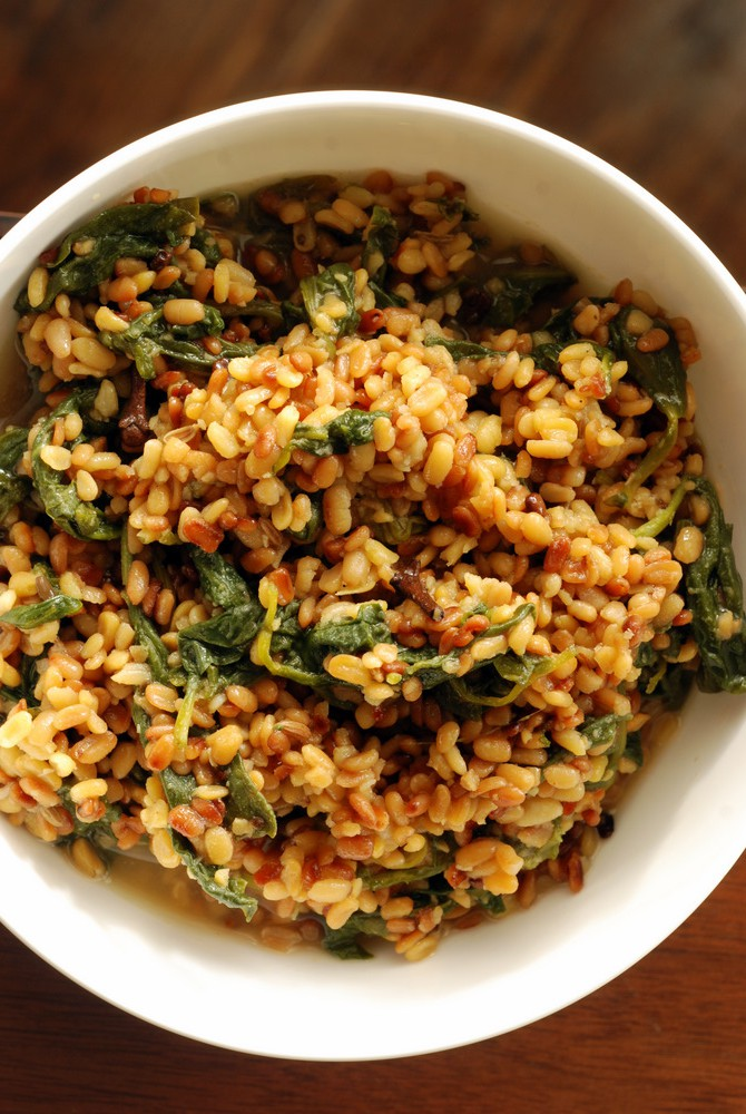 Bengali Toasted Moong Dal (Green Lentils) with Spinach (Bhaja Moong Palak)