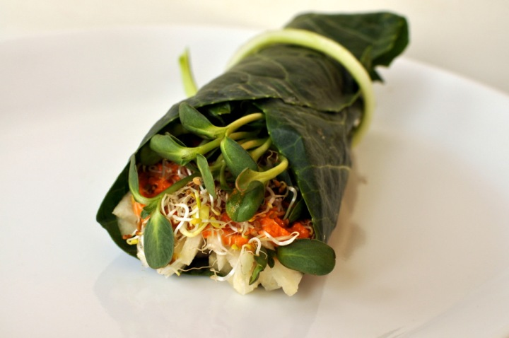 Raw Burrito (Collard Wrap filled with Jicama, Sprouts and a Nacho Cashew Spread)
