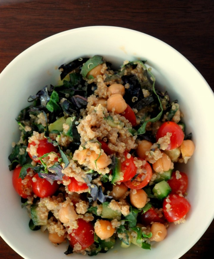 Quinoa and Chickpea Salad with a Balsamic Tahini Dressing