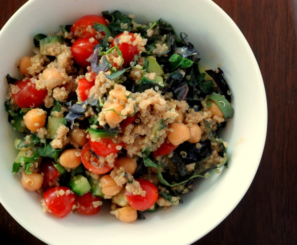 Quinoa and Chickpea Salad with a Tahini Balsamic Dressing