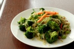 Creamy Thai Cilantro Ginger Sauce Stirfry with Broccoli and Shiitake Mushrooms