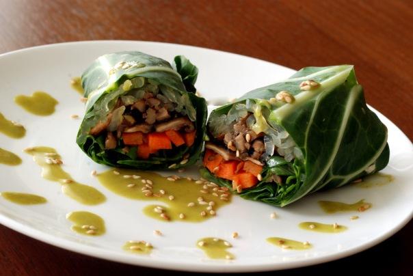 Thai shiitake-basil spring rolls with a creamy Thai cilantro ginger sauce