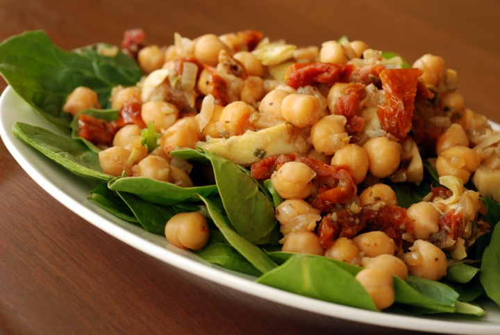 Warm Mediterranean Chickpea and Spinach Salad