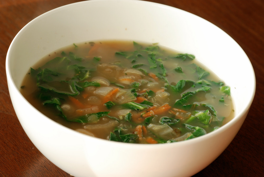 Roasted Garlic And Smoky Greens Soup Recipe — Dishmaps