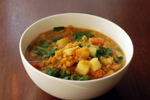 Curried Lentil Stew with Celeriac and Pumpkin