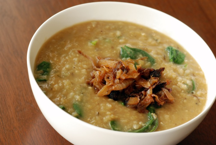 Fragrant Lentil Rice Soup with Spinach and Crispy Onions (aka Dal Bhat Meets Mujaddara)