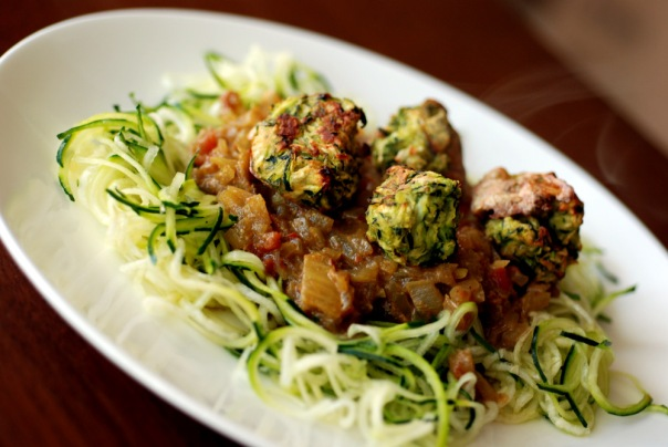 Zucchini Meatballs and Curry-Tomato Sauce with Almond Parmesan