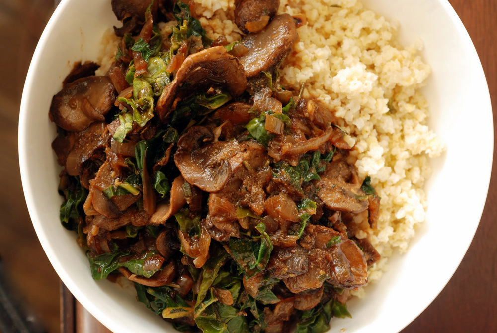Millet Bowl with Mushroom Gravy and Kale